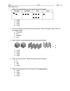 Place Value to the thousands test prep questions