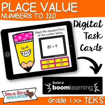Place Value up to 120 | Expanded & Standard Forms Boom Cards (First Grade TEKS)