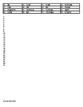 Place Value vocab & worksheet