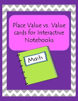 Place Value vs Value Interactive Notebook card