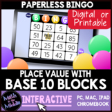 Place Value with Base 10 Blocks - tens & ones - Digital Bingo Game - Paperless