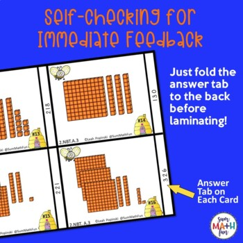Place Value Base Ten Blocks - Memory Matching Game - Self-Checking Task Cards