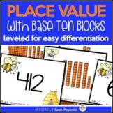 Place Value Games Base Ten Blocks - Matching Game - Self-Checking Task Cards