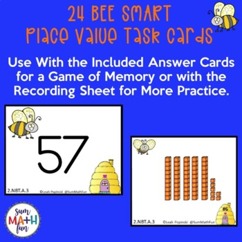 Place Value Games Base Ten Blocks - Matching Game - Self-Checking Task Cards