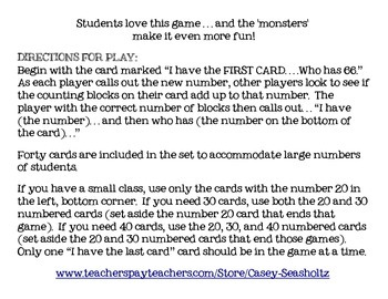 Place Value with Counting Blocks:  I HAVE, WHO HAS GAME (Modify for class size)
