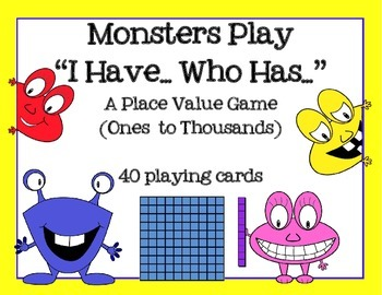 Place Value with Counting Blocks:  I HAVE, WHO HAS GAME (M