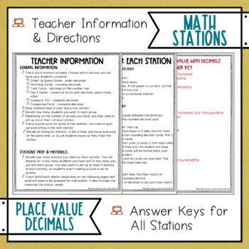 Place Value with Decimals Math Stations