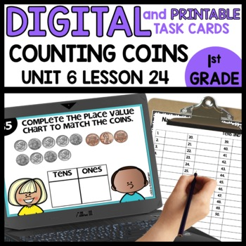 Place Value with Dimes and Pennies | DIGITAL TASK CARDS | PRINTABLE TASK CARDS