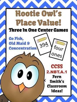Hootie Owl's Place Value Math Center Games