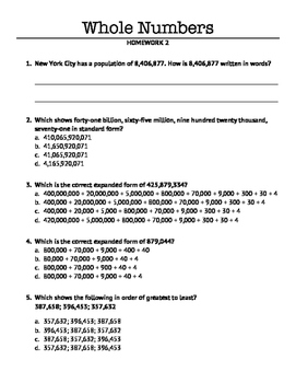Place Value with Whole Numbers: Homework 2