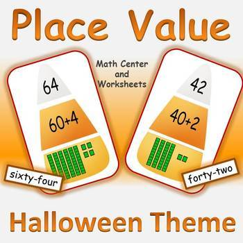 Place Value with Worksheets Halloween Math