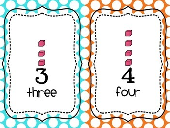 Place Value/Counting Anchor Charts Blue, Aqua, Orange
