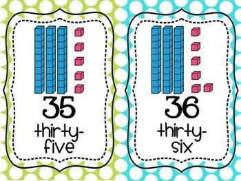Place Value/Counting Anchor Charts Pink, Aqua, Green