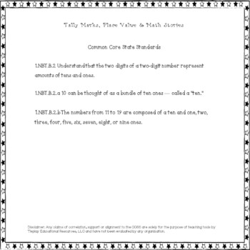 Place Values With Tally Mark Teddy and Math Stories in Black and White Print