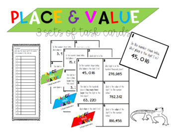 Place and Place Value 4, 5 and 6 digit Task Cards and Mini Posters