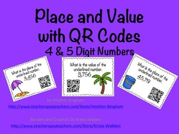 Place and Value Task Cards with QR Codes