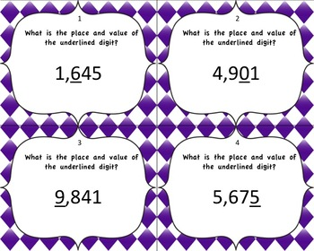 Place and value task cards