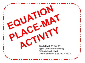 Place-mat Activity One Step Equations (Hard)