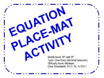 Place-mat Activity One Step Equations (Medium)
