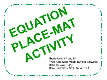 Place-mat Activity for One Step Equations (Easy)