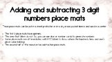 Place mats for adding and subtracting from a 3 digit number in expanded form
