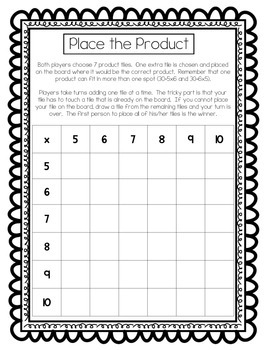 Place the Product Multiplication Game