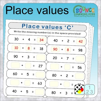 Place value (17 distance learning worksheets for Numeracy)