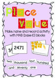 Place value: Make, name record activity with MAB blocks (base 10 blocks)