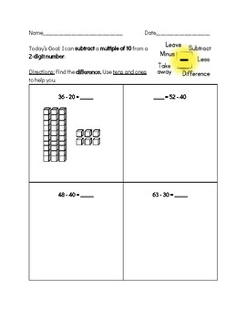 Place value + Subtraction Practice
