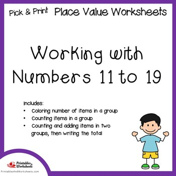 Place value Worksheets 11 to 19, Counting Objects to 20