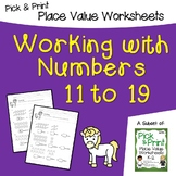 Intro to Place Value, Introducing Place Value, Counting 11 to 20 Worksheets