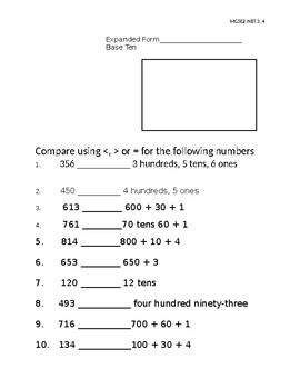 Place value and comparing numbers assessment