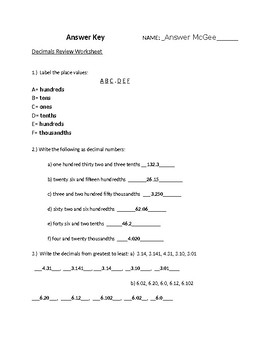 Place value and decimals sheet