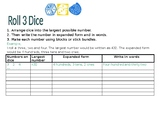 Place value and expanded notation dice worksheet