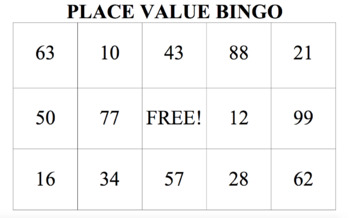 Place value bingo - digits 0 - 99