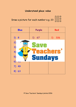 Place value (drawing diagrams) worksheets (3 levels of difficulty)
