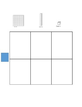 Place value graphic organizer with visuals for adding and