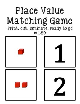 Place value matching game #1-20