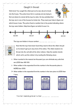 Place value & number line assessment
