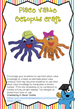 Place value octopus craft