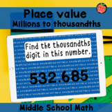 Place value recognition Boom cards   Middle school math