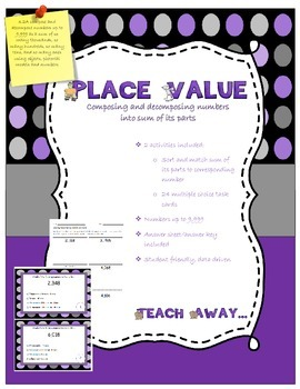Place value: sum of its parts task cards