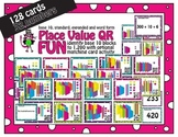 Place value task cards Base Ten Units to 1,200 with QR and matching cards