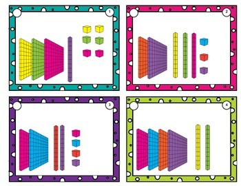 Place value task cards Base Ten Units to 1,200 with optional matching cards