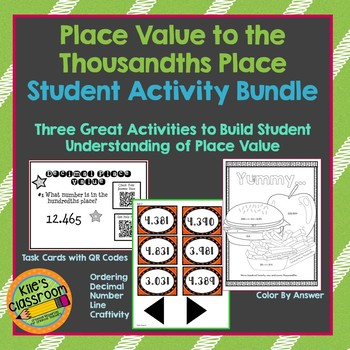 Place value to the Thousandths Place Student Activity Bundle