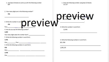 Place value word and number form- Differentiated Worksheets