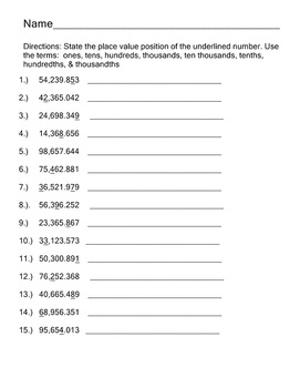 PlaceValue Worksheet Pack Decimal Place Value Practice