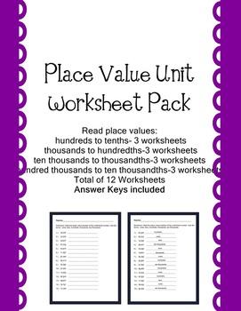 PlaceValue Worksheet Pack Decimal Place Value Practice