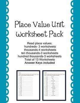 PlaceValue Worksheet Pack   Hundreds thru Hundred Thousands 13 worksheets
