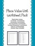 PlaceValue Worksheet Pack   Hundreds thru Hundred Thousand